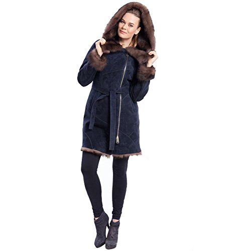 Blue Genuine Leather Shearling Sheepskin Jacket for Women Classic Hooded Fur Collar Fashion Long Style Cashmere Coat (Blue, XL)