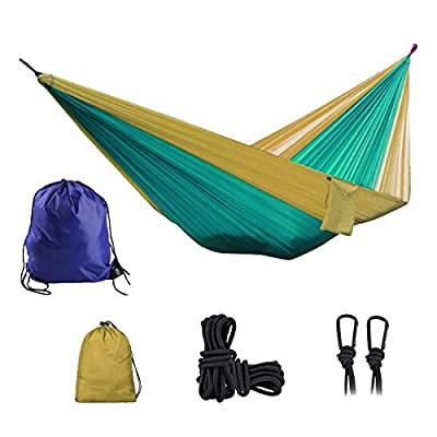 Camping Hammock Portable Lightweight Double & Single Nylon Hammock Best Parachute Hammock with 2 x Hanging Straps for Backpacking, Travel, Beach, Backyard, Patio, Hiking (Blackish Green & Light Tan)