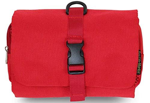 吊るせる トラベルポーチ 使いやすい 着脱式 ベルトに固定できる 化粧ポーチ 吊り下げ バッグインバッグ 出張 海外 旅行 育児 (赤)