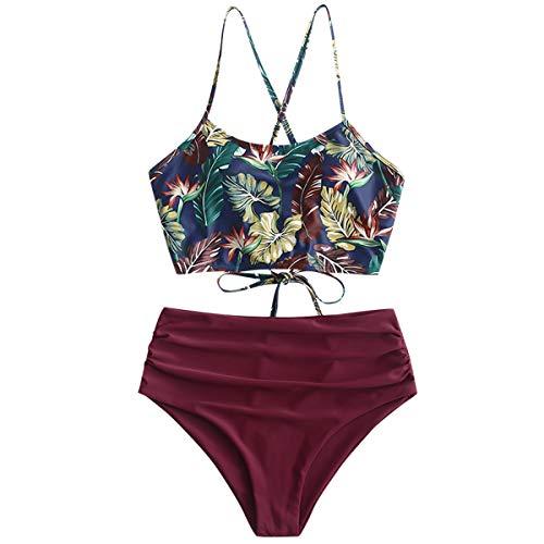ZAFUL Damen Bikini-Set Gepolsterte Bikini Set mit Blattdruck Schn¡§1r Tankini Hohe Taille Badeanzug Bikinis Rot Large ?-