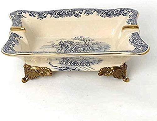 MISS KANG Cenicero, Cenicero Adornos de aleación de cerámica Regalo de joyería Ashtray Americano Europeo Ashtray Retro Linda decoración Qingchunw