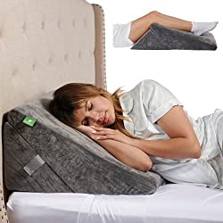 Memory Foam Bed Wedge Pillow - 9&12 Inch Adjustable Sleeping Pillow with Removable Cover - Folding Breathable Incline Cushion for Sleeping, Reading, Post Surgery, Lower and Upper Back Pain - Washable