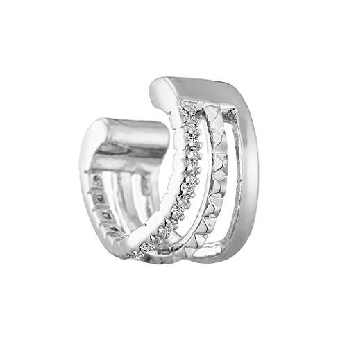 QIAMNI Pendientes de oreja con circonita cúbica de platino multicapa, diseño minimalista, con forma de onda, para mujeres y niñas