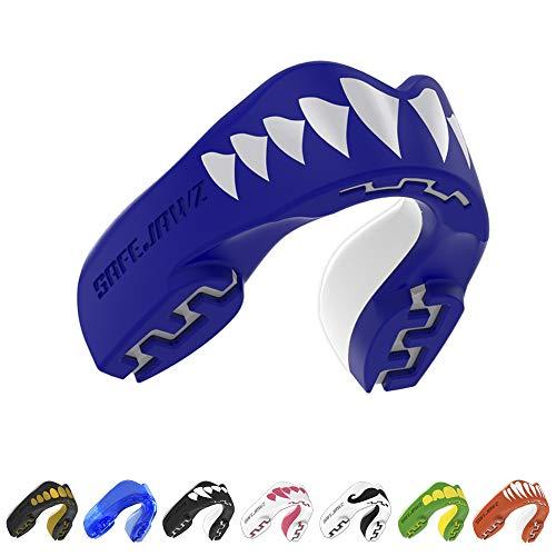 SAFEJAWZ 'Extro Serie' Protector Bucal. para Todos los Deportes de Contacto, incluidos el Rugby, MMA, Las Artes Marciales y el Boxeo. (Tiburón, Adulto (12+ Años))
