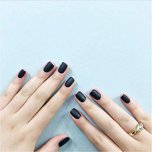 Valse nagels, nep nagels, natuurlijke parel elegante touch Franse Manicure,24* zwart mat Valse nagels, korte ronde hoofd zachte zuivere kleur ovaal mat kunstnagels tips 1