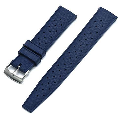 Correa Reloj Correa de reloj de goma de grado premium 20 mm 22 mm reloj de reloj buceo buceo impermeable pulsera color negro Correa De Repuesto (Band Color : Blue new, Band Width : 20mm)