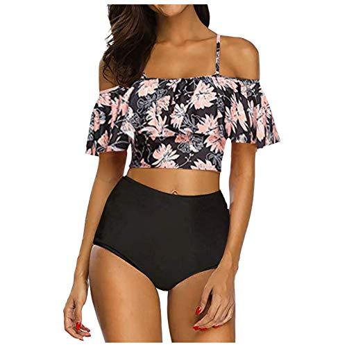 Conjuntos de Bikinis para Mujer 2021 Traje de Baño de Dos Pieza para Mujer Trajes De Baño para Gorditas, Traje De Baño De Dos Piezas para Mujer con Volantes Y Conjunto De Bikini De Cintura Alt