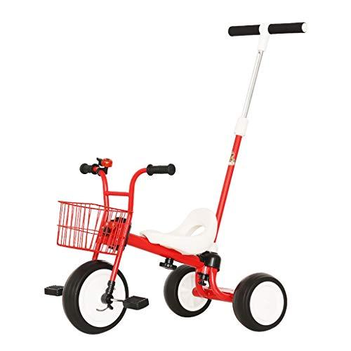 NBgy driewieler verstelbaar, multifunctionele kinderfiets, 3-wielige fiets, 2-6 jaar oude baby outdoor driewieler met duwstang ontwerp, 3 kleuren, 50x31x29cm