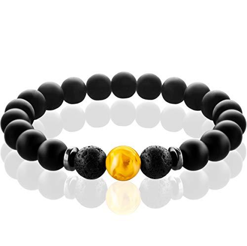 FABACH Chakra Perlenarmband mit 8mm Amber-Perle, Lavastein und Onyx-Naturstein (schwarz) - Yoga Armband aus Heilsteinen - Energiearmband für Damen und Herren