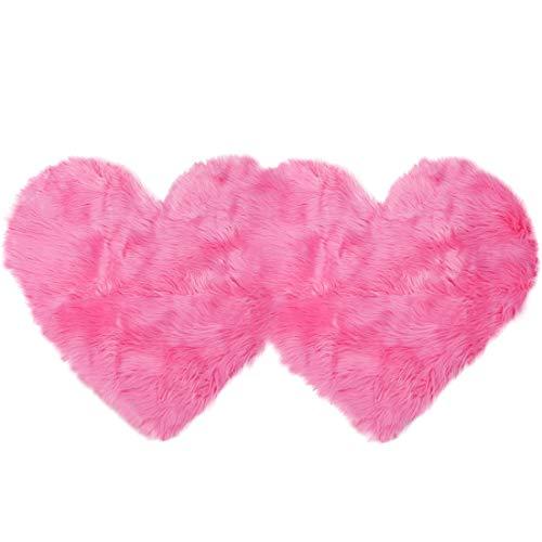PiccoCasa - Alfombra de piel de oveja sintética suave con forma de corazón doble para el hogar, salón, balcón, sofá, dormitorio, 1,22 x 2 pies