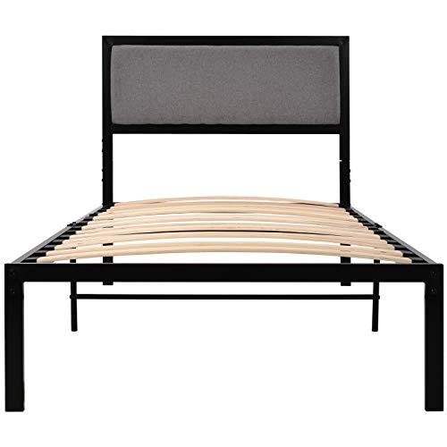 PovKeever - Cama de metal de 91 cm con cabecero tapizado, cama de plataforma para adultos y niños, color negro