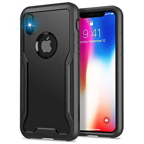 HOOMIL Cover iPhone XS, Cover iPhone X, Anticaduta Antiurto Custodia Apple iPhone XS/X Cover (5.8 Pollici), Caso Protettiva in Silicone TPU Bumper Case - Nero
