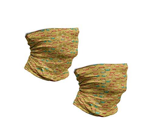 ABAKUHAUS Nackenwaermer 2 er Set Halswaermer nackenhörnchen Stehkragen, Crab Shell Sand Castle Star und Muscheln Muster, Pale Kaffee