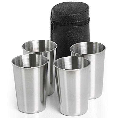 TRIXES Juego Compacto de 4 Vasos para Viaje en Acero Inoxidable con...