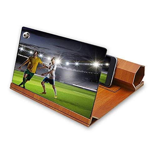 Lupa de pantalla móvil universal de 12 pulgadas de madera plegable lupa imagen Ampliar soporte de escritorio para teléfono móvil para películas vídeos y juegos
