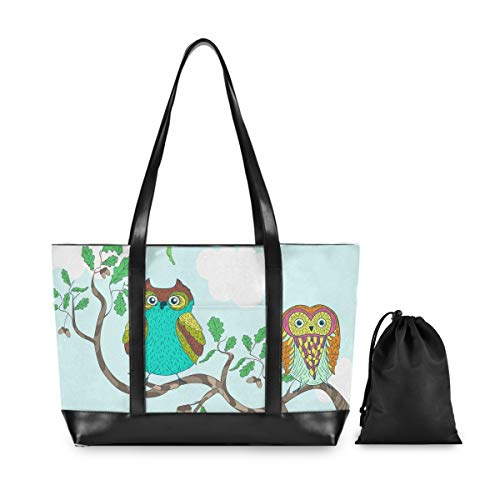 Laptop Tote Bag-Funny Cartoon Owls Sitting The Brunches Women Business Handbag Computer Shoulder Work Bags Fits 15.6 Inch Notebook