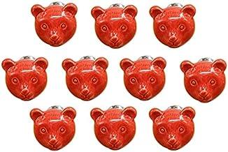 Cartoon dierlijke vorm keramische deur handvat AOOF dressoir keuken kast lade handvat 10 stuks, grijs (rood)
