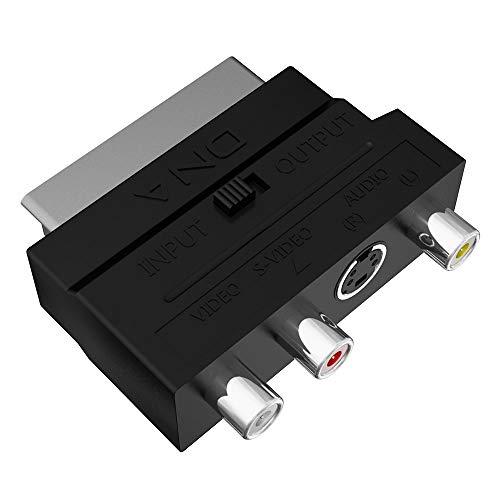 DNA SCART Adapter - SCART naar RCA/Phono/Component/Composite AV Kabel Adapter - Schakelbare RCA/Composiet/AV naar SCART Connector