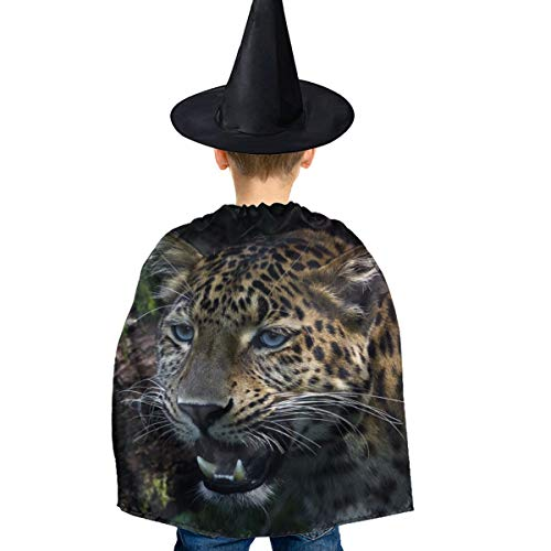 Amoyuan Unisex Kids Kerst Halloween Heks Mantel Met Hoed Jungle Cheetah Luipaard Wizard Cape Fancy Jurk