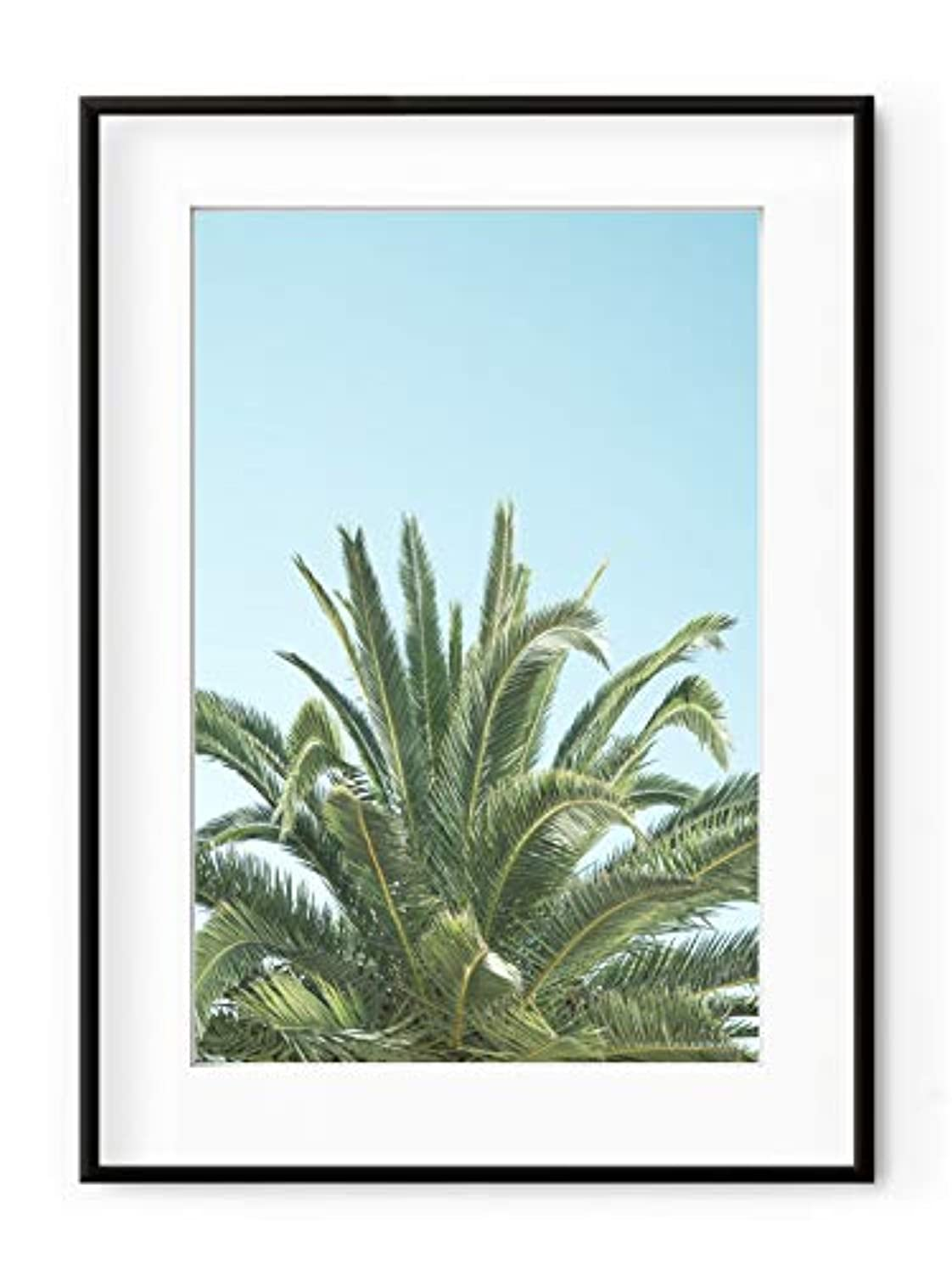 Palm Tree on Blue Background with White Lacquer Wooden Frame and Mount, Multicolored, 70x100