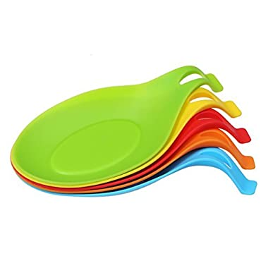 Angelbubbles Spoon Rest Holder 100% Food Grade Silicone Set of 5 Colourful (Colourful)