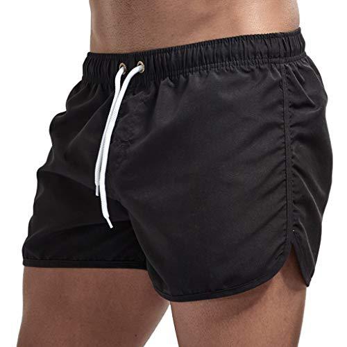Men Summer Stylish Casual Workout Beach Pants Drawstring Comfort Shorts(Black,XL)