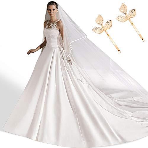 Velo da Sposa in Stile Cattedrale, HICOO Velo da Sposa 3m di Lunghezza Bordo Squisito del Nastro Velo Elegante con Fermagli per Capelli a Foglia d'oro