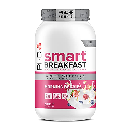 PhD Nutrition Smart Breakfast Meal Replacement Protein Shake Morning Berries, 600 g