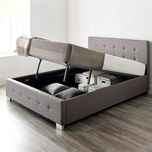 Aspire Beds Upholstered Storage Ottoman Bed in Grey, Black or Natural Linen Fabrics (Double 4ft6 135 * 190, Grey)