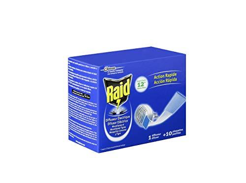Raid  Eléctrico en Pastillas - Aparato anti mosquitos comunes y tigre. Enchufe sin líquidos con hasta 10 horas de protección. Incluye 1 Difusor + 10 Recambios en pastilla