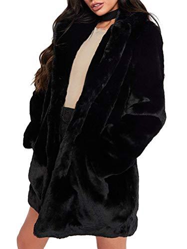 Minetom Damen Flaumig Verdicken Mantel Flaumig Warme Outwear Elegant Winter Chic Plüsch Jacke Lange Parka Overcoat Schwarz 44