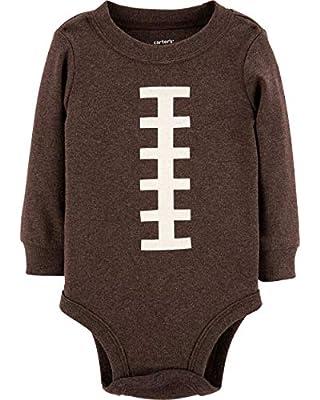 Carter's Baby Boy's Thanksgiving Football Long Sleeve Bodysuit (3 Months), Brown