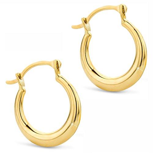 Orovi Damen Gold Creolen Ohrringe GelbGold Ohrringe 14 Karat (585) Ohr-Schmuck