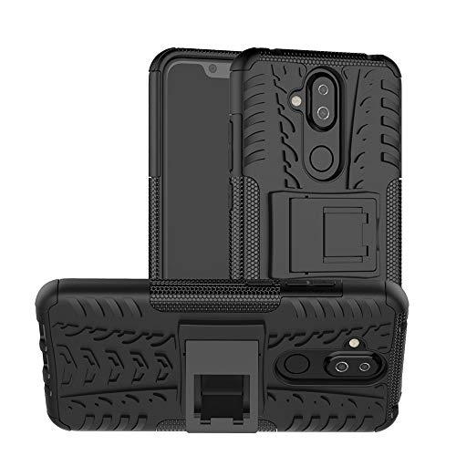 MRSTER Nokia 8.1 Hülle, Outdoor Hard Cover Heavy Duty Dual Layer Armor Hülle Stoßfest Schutzhülle mit Ständer Handyhülle für Nokia 8.1 (2018). Hyun Black