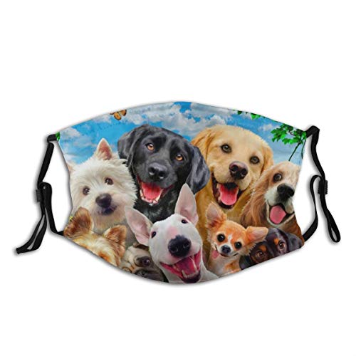 Cute Puppies Funny Dog Face Mask Scarf, Reusable & Adjustable-Washable Fashion Bandana,with 2 Filter for Anti Dust Outdoor