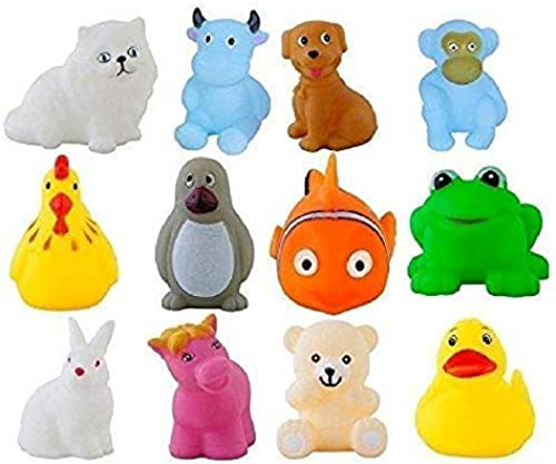 golden ocean toy s gift squeeze chu sound soft natural rubber non toxic toddler baby bath animal shape toys 12 pieces assorted Multi color