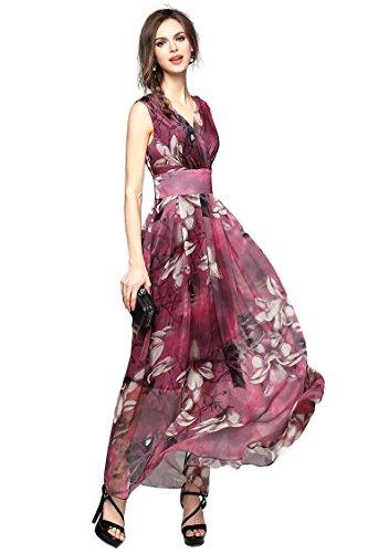 Joy EnvyLand Women V-neck Flower Prom Party Tunic Long Cocktail Beach Dress, Red, Large