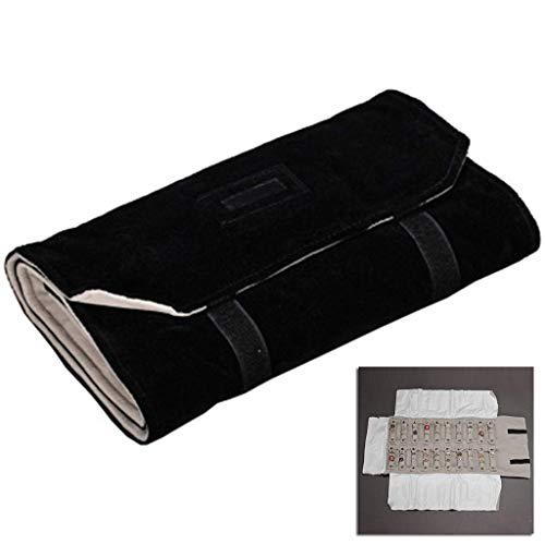 Bolsa de almacenamiento, bolsa de almacenamiento de rollo de joyería de lujo para mujer, anillos de dama, pendientes, organizador de collar, bolsas de tela portátiles, gris