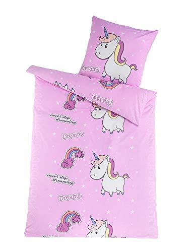 Dreamhome  100% Baumwolle Fein-Biber Bettwäsche Mädchen Einhorn Prinzessin Pony 135x200, Designe:Einhorn