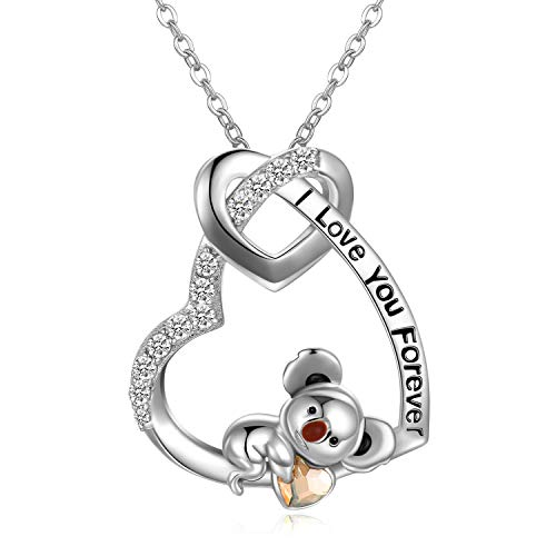 Koala Bear Necklace Sterling Silver'I Love You Forever' Heart Pendant Necklace, Anniversary Birthday Jewellery Gifts for Girlfriend Wife Women Her