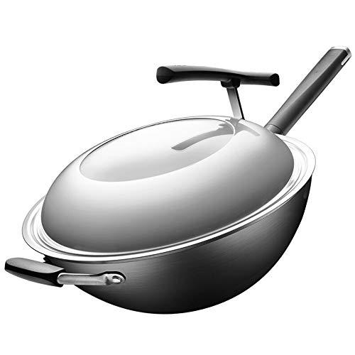 Rghfn 32CM Fine Iron nieuwe, derde generatie Whirlpool Wok Gezonde Ongecoate Koken Pan Whirlpool Spitse Bottom, 360 ° Whole Body Nitriding Rust kan niet Rust, Antiroest Non-roest Round Pot (13 inch)