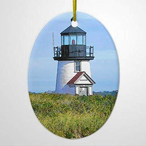 BYRON HOYLE Ornament Decors Brant Point Lighthouse Vintage Nantucket Ornament Oval Christmas Tree Christmas Ornaments Idea Christmas Ornaments Pandemic Xmas Decor Holiday present