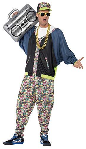 Smiffys 80er Jahre Hip Hop Kostüm, Gemustert, mit Jacke, Hose & Kopfbedeckung, M