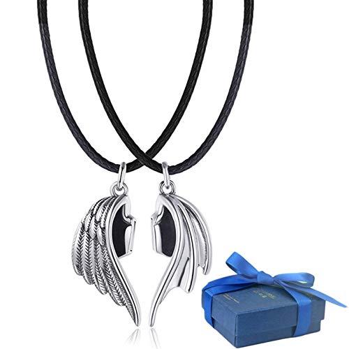 FTIK Paar Halskette Magnetisch,Teufels und Engel Halskette, Freundschaftsketten,Liebhaber Halskette Leder Schlüsselbeinkette Anhänger Amulett Partner Anhänger Damen Schmuck A