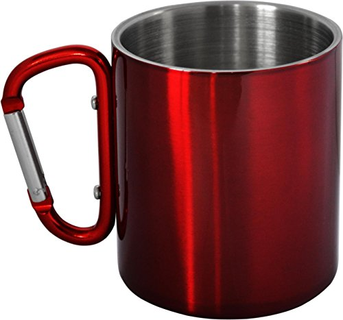 normani Doppelwandige Edelstahl Tasse 330 ml mit Karabinerhaken Farbe Rot