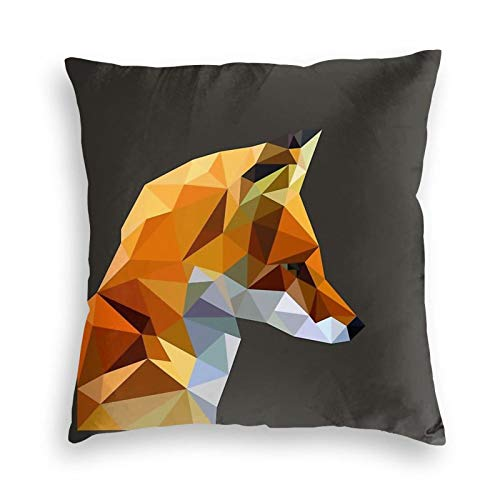 Ryuji Geometric Art Fox Velvet Throw Pillow Cover Cozy Square Throw Pillowcases Home Decorative for Bed Couch Sofa Living Room Cushion Covers 18'X18'