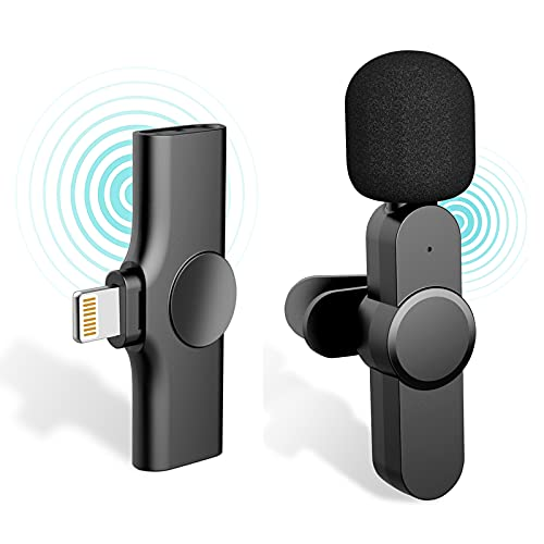 Plug-Play with 2 Clips Clip-on Wireless Microphone for iPhone iPad Youtubers,Facebook Live Stream,Vloggers,Interview,Auto-syncs Clip-on Lapel Mic for PC (NO APP or Bluetooth is Needed)