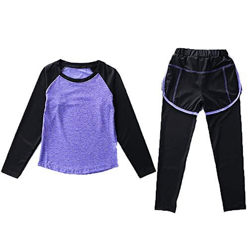 Echinodon Mädchen Sport-Set 2tlg Schnelltrockend Langarmhirt + Hose mit Shorts Anzug für Jogging Training Yoga Violett 130