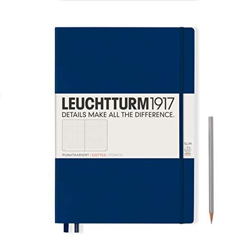 LEUCHTTURM1917 342929 Notizbuch Master Slim (A4+), Hardcover, 123 nummerierte Seiten, Marine, dotted