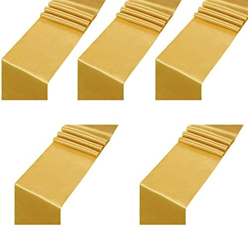 Satin Table Runner Gold 12x108inch Pack of 5 Long Wedding Satin Silk Table Runner for Wedding product image